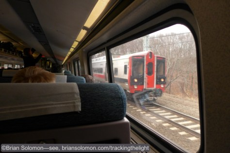 New Haven line train viewed from Amtrak's Vermonter, December 17, 2014.