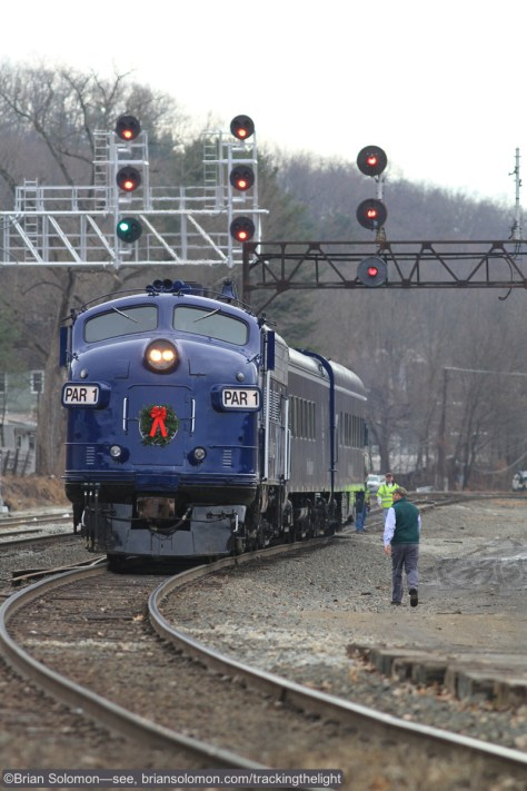 Pan Am's Office Car train with F-unit at Greenfield, Massachusetts on December 22, 2014. Canon EOS 7D with 200mm lens.