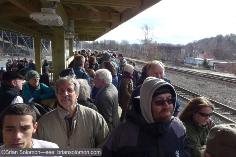 Large crowds of passengers, fans, and politicians gathered at Greenfield to witness the first revenue Amtrak train to stop on the Knowledge Corridor route. Lumix LX7 Photo.