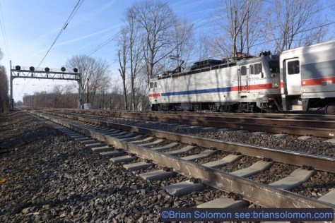 A SEPTA training special departs Narberth on December 4, 2014. Lumix LX7 photo.