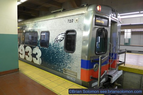 A Silverliner V dressed for the Philadelphia Eagles at Suburban Station.