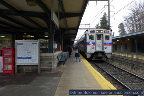 Inbound SEPTA train at Jenkintown on the former Reading. Lumix LX7 photo.