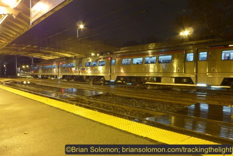 A SEPTA Silverliner V pauses at Overbrook on the evening of December 1, 2014. Lumix LX7 photo. ISO 80, f3.2 1.3 seconds. (Exposed in 'A' mode using a + 2/3 manual override.)