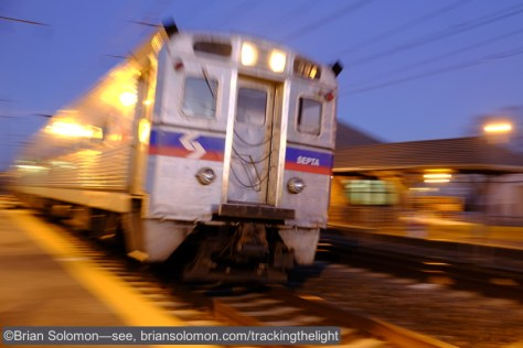 SEPTA PCC at the Northern Liberties Loop near the Sugar House Casino. Exposed with a Fuji X-T1 fitted ISO 400 f3.6 1/4th second