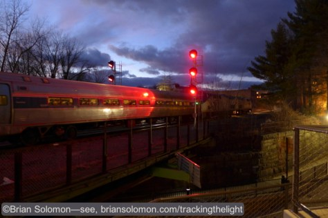 Amtrak's Vermonter departs Greenfield for Brattleboro and points north. Amtrak's daily Vermonter (Washington DC to St. Albans, Vermont) will now call at Greenfield 7 days a week. Lumix LX7 photo.