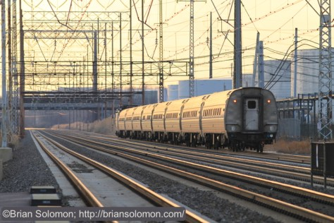 Trailing view of Amtrak AEM-7 train 93 at Marcus Hook, Pennsylvania. Canon EOS 7D with 200mm lens.
