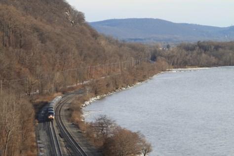 Amtrak northward Empire Corridor train seen from Breakneck Ridge.
