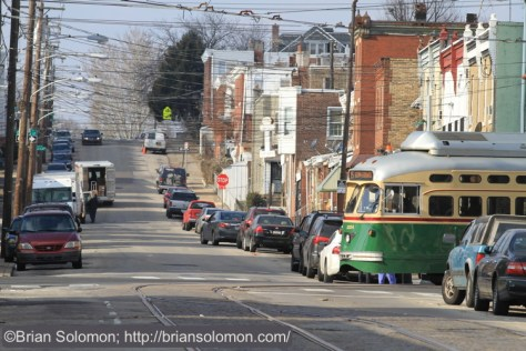 An historic PCC in route 15 service turns the corner from 63rd Street to Girard Avenue. Canon EOS 7D.