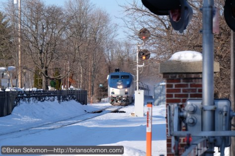 Amtrak train 55, the southward Vermonter approaches Windsor. I'd intended to make a sequence of the train passing, but I'd inadvertently put the X-T1 into some mode that allowed me just one frame. By the time I'd figured out what I'd done wrong, the train was approaching Hartford!