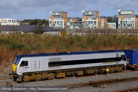 A classic roster view: Irish Rail's IWT Liner at Islandbridge Junction near Heuston Station on February 26, 2015.  Fuji X-T1 photo in 'Velvia' mode. (And yes, yes, I made one in 'Provia' mode too. And a slide.)