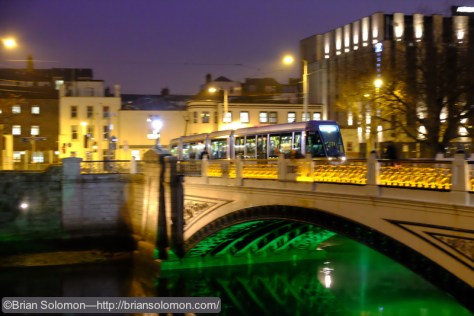 I exposed this panned view of a LUAS tram crossing the old Kings Bridge across the River Liffey near Heuston Station. Great dynamic range for such high ISO. (6400).