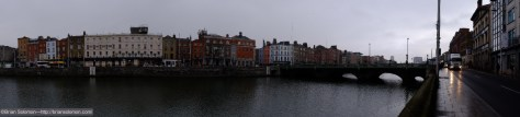 Panoramic view of the River Liffey during the darkest moments of the eclipse.