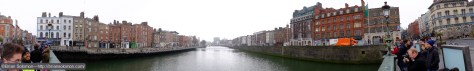 I wasn't the only one on Grattan Bridge hoping for a peak at the sun. Panoramic view.