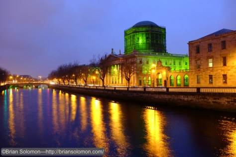 Four Courts, Dublin, lit for St. Patrick's Day. Fuji X-T1.
