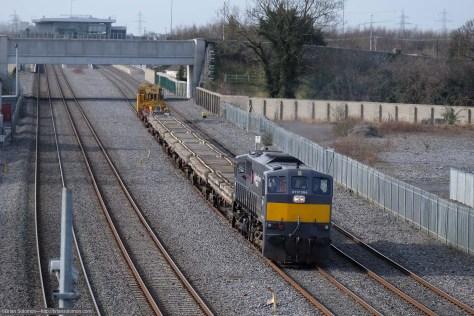 Irish Rail 084 with Relay train up road near Clondalkin. Exposed with Fuji X-T1.