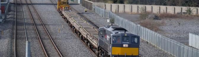 Irish Rail Relay Train on the Move.