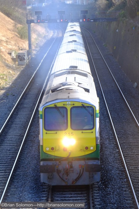 The 10am Dublin-Cork passenger train was led by Irish Rail class 201 number 215. A perfect subject with which to check focus and exposure.