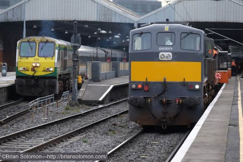On arrival at Connolly, locomotive 071 coupled onto the RPSI carriages to bring them over to the Inchicore Works. On the left is Irish Rail 231 on the Enterprise for Belfast.