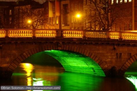 Mellows Bridge, Dublin, lit for St. Patrick's Day. Fuji X-T1.