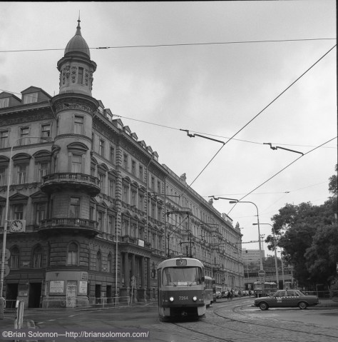 Un-cropped view of a tram on the number 9 route in Prague.