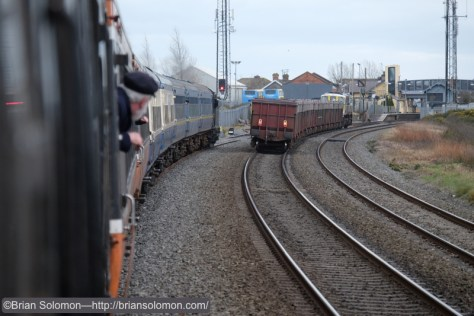 Trailing view of the Tara Mines train that overtook the RPSI special at Skerries.