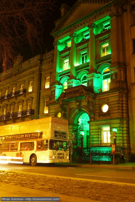 Story Teller Bus with greened old bank, College Green, Dublin. Lumix LX-7 photo.