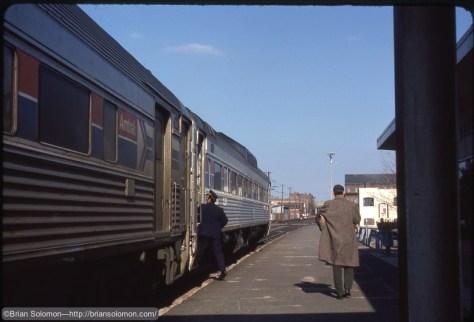 Amtrak RDCs at Meriden CT Feb 1979 Brian Solomon 662987