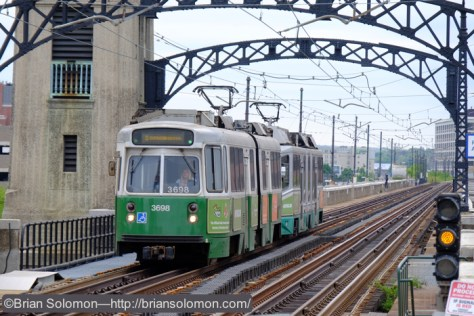 In-bound Green Line train near the Science Park station. Exposed with a Fujifilm X-T1 digital camera. 18-135mm lens.