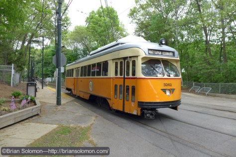 Capen Street in May 2015. Streetcars like this one have been prowling Boston's streets for more than 70 years. Lumix LX7 photo.