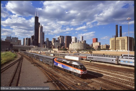 An outbound Metra MP36-3C departs Chicago Union Station on June 22, 2004.