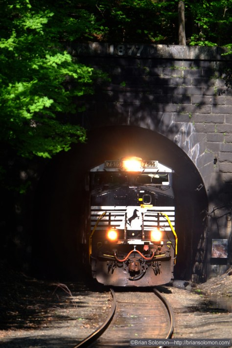 As Pan Am Southern train 14T emerged from the east portal of the Hoosac Tunnel, I exposed a burst of digital images. At the time of exposure, I knew I was over-exposing the image, but I'd rather risk slight over exposure in this situation, than allow a black locomotive to sink into the shadows of the tunnel.