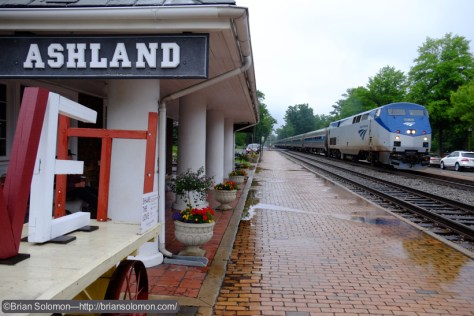Amtrak 125 makes its station stop on Track 3 at Ashland, Virginia. This is one of the relatively new trains destined for Norfolk, Virginia.