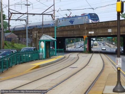 Amtrak ACS-64 619 rolls across Girard Avenue on its way toward Philadelphia 30th Street Station. Exposed with a Lumix LX7.