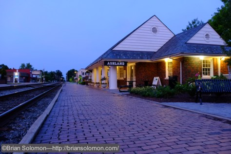 The old passenger station at Ashland, Virginia at dawn on June 8, 2015, looking south. Fujifilm X-T1 photo.