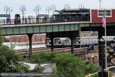 Trains above and below. At Broadway Junction the 'L-train' makes its appearance above ground. Confusingly the 'L-train' runs mostly underground, while the New York City Subway system is which runs the 'L' operates many elevated lines. Got that?