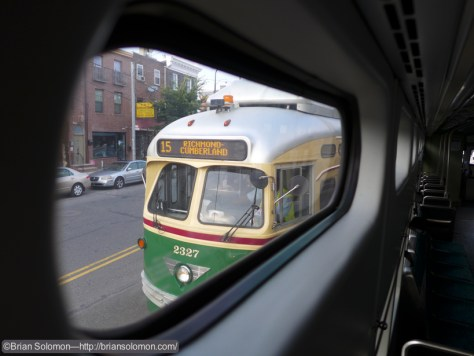 View of a PCC from the standee window on a eastbound car.  Lumix LX7 Photo.
