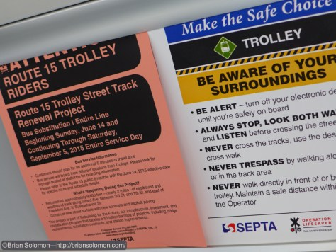 Service notice on-board a SEPTA PCC. Exposed with a Lumix LX7.