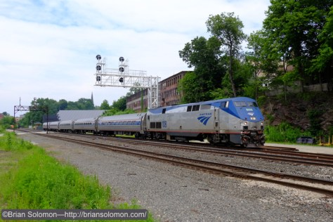 Amtrak train 55, the southward Vermonter at Greenfield, Massachusetts. Exposed with a FujiFilm X-T1 digital camera.