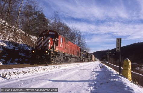 Alco diesels in Run-8! Exposed on Fujichrome using a Canon EOS-3 with 28mm lens. February 6, 2010.