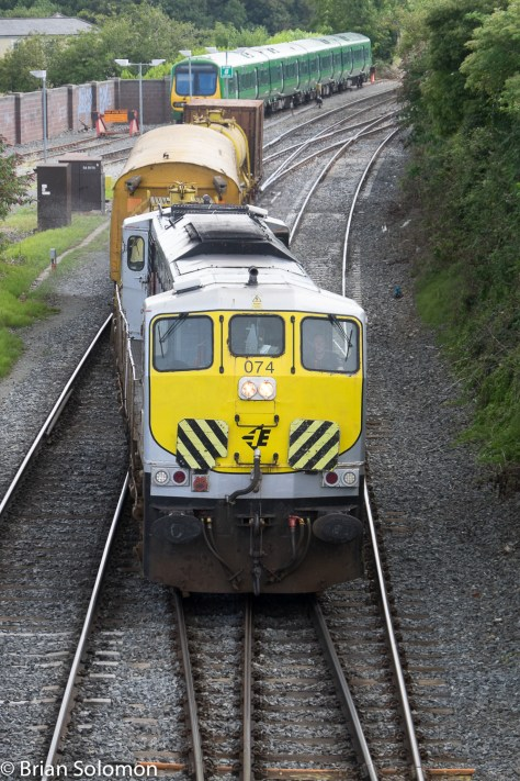 The chevrons on the front of 074 have been a trademark of the weedspraying train for decades.