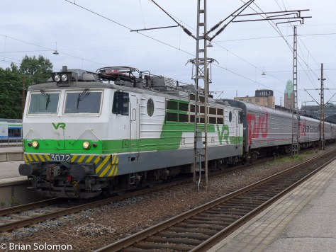 Appropriately a Soviet-built Sr1 electric leads the Leo Tolstoi at Helsinki.
