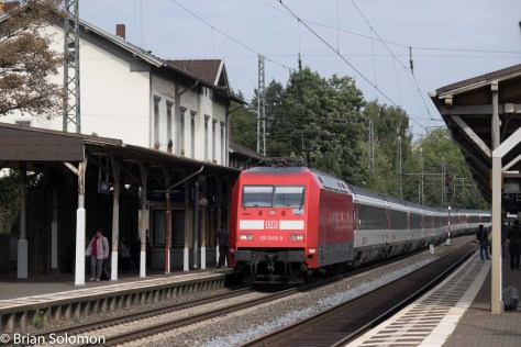 11:10 am. Looking north at a southward EC train bound for Switzerland.