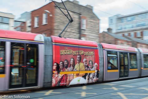 LUAS 3001 crosses Queen Street, Dublin. 17 September 2015. Lumix LX7 photo.