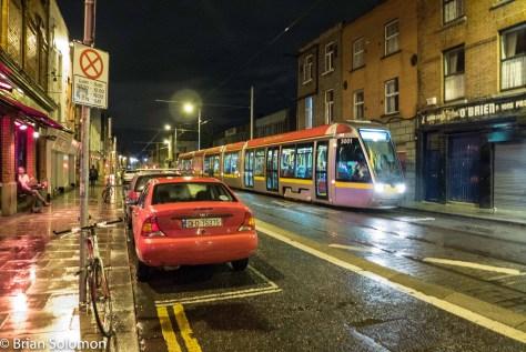 LUAS 3001 on Benburb Street, Dublin. 17 September 2015. Lumix LX7 photo.
