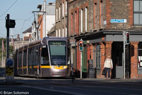 LUAS Red Line tram at Blackhall Place. I wish I'd made a photo at this corner prior to 2004!