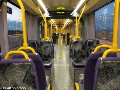 Interior of a LUAS tram at Brides Glen.