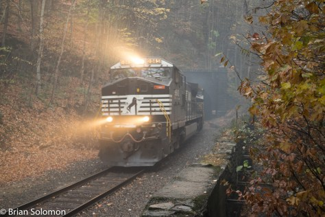 Norfolk Southern/Pan Am Southern intermodal train 22K clears the mist from the Hoosac tunnel.