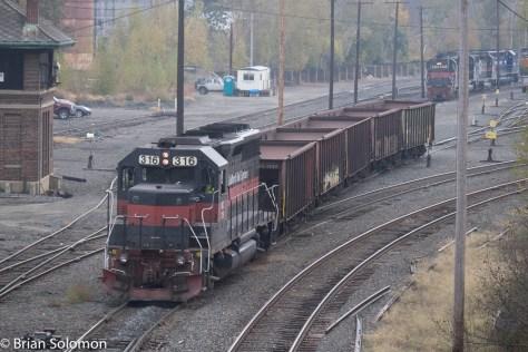 Pan Am's empty ballast train departs East Deerfield on October 22, 2015.