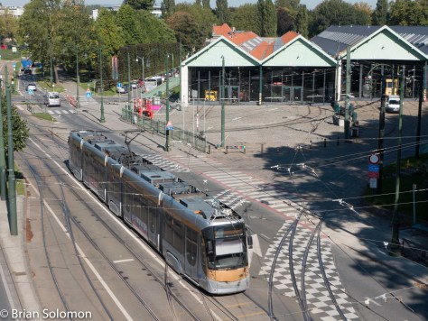 A Bombardier Flexity catches the noon-time sun near the Brussels Tram Museum. (I'd hoped to visit the museum inside, but it was closed. Maybe next time . . . ).