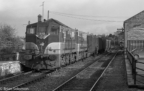 A pair of venerable GM diesels shunt a timber train at Clonmel. Don't travel there today and expect this sort of action, you'll only be disappointed. (Although the cabin remains active).